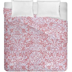Damask2 White Marble & Pink Glitter Duvet Cover Double Side (king Size) by trendistuff
