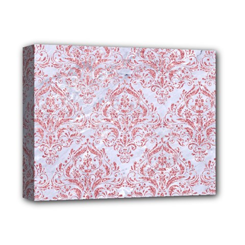 Damask1 White Marble & Pink Glitter (r) Deluxe Canvas 14  X 11  by trendistuff
