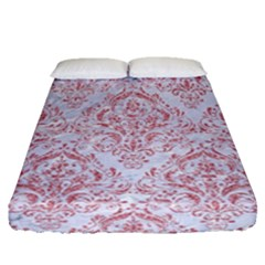 Damask1 White Marble & Pink Glitter (r) Fitted Sheet (queen Size) by trendistuff