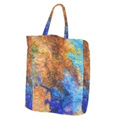 Blue Brown  Texture                                   Giant Grocery Zipper Tote by LalyLauraFLM