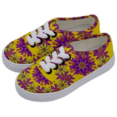 Fantasy Flower Wreath With Jungle Florals Kids  Classic Low Top Sneakers by pepitasart