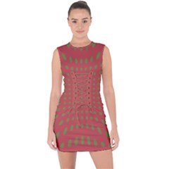 Crazy Retro Pattern Lace Up Front Bodycon Dress