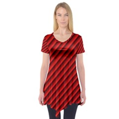Abstract Red Art Short Sleeve Tunic  by goodart