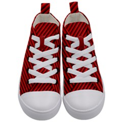 Abstract Red Art Kid s Mid Top Canvas Sneakers