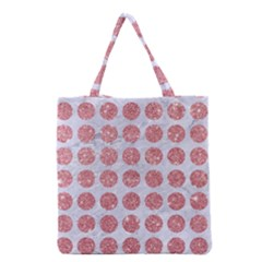 Circles1 White Marble & Pink Glitter (r) Grocery Tote Bag by trendistuff
