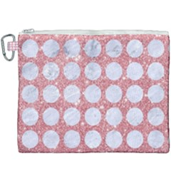 Circles1 White Marble & Pink Glitter Canvas Cosmetic Bag (xxxl) by trendistuff