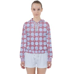 Circles1 White Marble & Pink Glitter Women s Tie Up Sweat