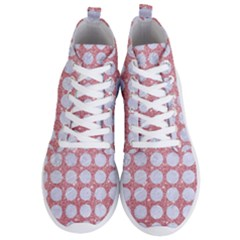 Circles1 White Marble & Pink Glitter Men s Lightweight High Top Sneakers