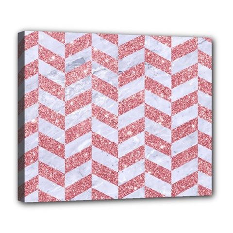 Chevron1 White Marble & Pink Glitter Deluxe Canvas 24  X 20   by trendistuff