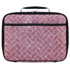 Brick2 White Marble & Pink Glitter Full Print Lunch Bag by trendistuff