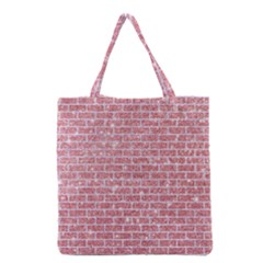 Brick1 White Marble & Pink Glitter Grocery Tote Bag by trendistuff
