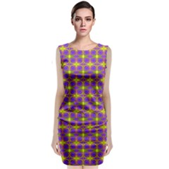 Purple Yellow Swirl Pattern Classic Sleeveless Midi Dress by BrightVibesDesign