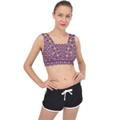 Purple Yellow Swirl Pattern V Back Sports Bra