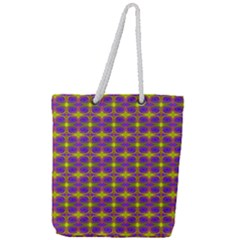 Purple Yellow Swirl Pattern Full Print Rope Handle Tote (large) by BrightVibesDesign