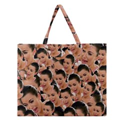 Crying Kim Kardashian Zipper Large Tote Bag by Valentinaart