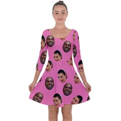 Crying Kim Kardashian Quarter Sleeve Skater Dress by Valentinaart
