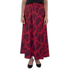 Red Earth Texture Flared Maxi Skirt by LoolyElzayat