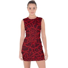 Red Earth Texture Lace Up Front Bodycon Dress by LoolyElzayat