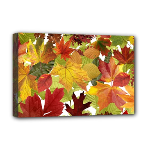 Autumn Fall Leaves Deluxe Canvas 18  X 12   by LoolyElzayat