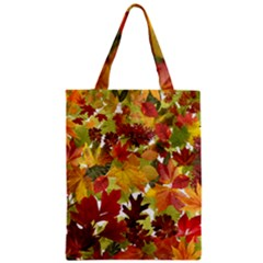 Autumn Fall Leaves Zipper Classic Tote Bag by LoolyElzayat