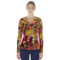 Autumn Fall Leaves V Neck Long Sleeve Top by LoolyElzayat