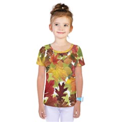 Autumn Fall Leaves Kids  One Piece Tee