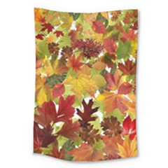 Autumn Fall Leaves Large Tapestry by LoolyElzayat