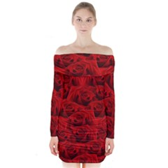Romantic Red Rose Long Sleeve Off Shoulder Dress by LoolyElzayat