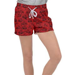 Romantic Red Rose Women s Velour Lounge Shorts by LoolyElzayat