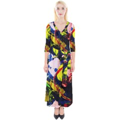 Global Warming 2 Quarter Sleeve Wrap Maxi Dress