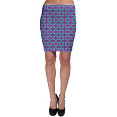 Pink Green Turquoise Swirl Pattern Bodycon Skirt