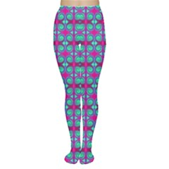 Pink Green Turquoise Swirl Pattern Women s Tights