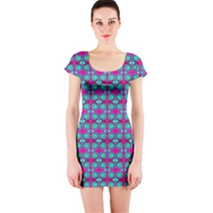 Pink Green Turquoise Swirl Pattern Short Sleeve Bodycon Dress