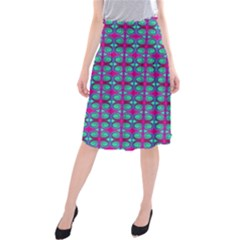 Pink Green Turquoise Swirl Pattern Midi Beach Skirt