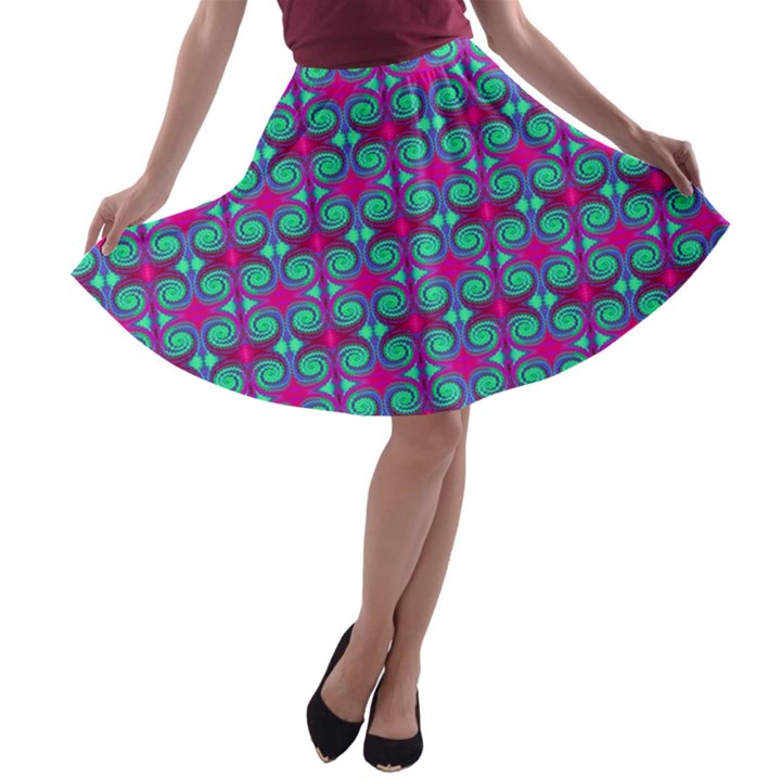 Pink Green Turquoise Swirl Pattern A-line Skater Skirt