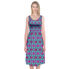 Pink Green Turquoise Swirl Pattern Midi Sleeveless Dress