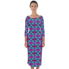 Pink Green Turquoise Swirl Pattern Quarter Sleeve Midi Bodycon Dress