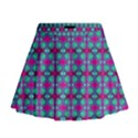 Pink Green Turquoise Swirl Pattern Mini Flare Skirt View1