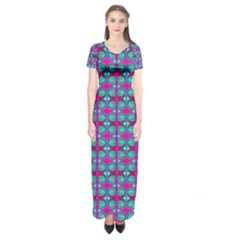 Pink Green Turquoise Swirl Pattern Short Sleeve Maxi Dress