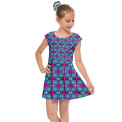 Pink Green Turquoise Swirl Pattern Kids Cap Sleeve Dress by BrightVibesDesign
