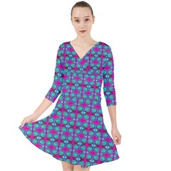Pink Green Turquoise Swirl Pattern Quarter Sleeve Front Wrap Dress