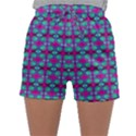 Pink Green Turquoise Swirl Pattern Sleepwear Shorts View1