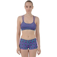 Pink Green Turquoise Swirl Pattern Women s Sports Set