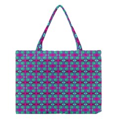 Pink Green Turquoise Swirl Pattern Medium Tote Bag by BrightVibesDesign