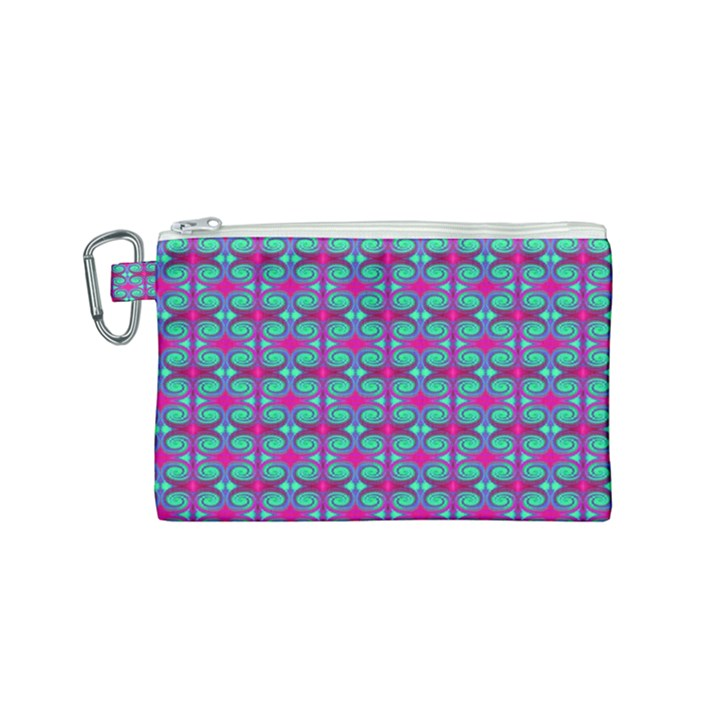 Pink Green Turquoise Swirl Pattern Canvas Cosmetic Bag (Small)
