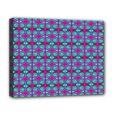 Pink Green Turquoise Swirl Pattern Deluxe Canvas 20  X 16   by BrightVibesDesign