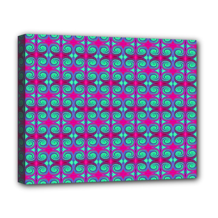Pink Green Turquoise Swirl Pattern Deluxe Canvas 20  x 16
