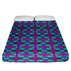 Pink Green Turquoise Swirl Pattern Fitted Sheet (king Size)