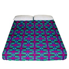 Pink Green Turquoise Swirl Pattern Fitted Sheet (california King Size) by BrightVibesDesign