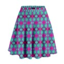 Pink Green Turquoise Swirl Pattern High Waist Skirt View1